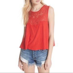 Free People Meant To Be Red Lace Swing Tank SP